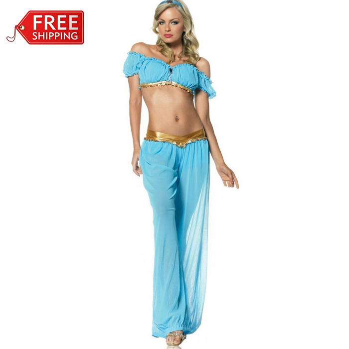 halloween costumes for women adult aladdins princess jasmine costume cosplay women belly dance carnival fancy dress wholesale