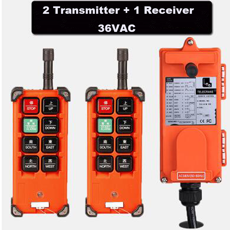 Quality Assurance Hoist Crane Remote Control System 36VAC Industrial Remote Control 2 Transmitter + 1 Receiver quality assurance 6 channeis 1 speed control 2 motor crane industrial remote control mkhs 10 1 wireless transmitter ip65 degree