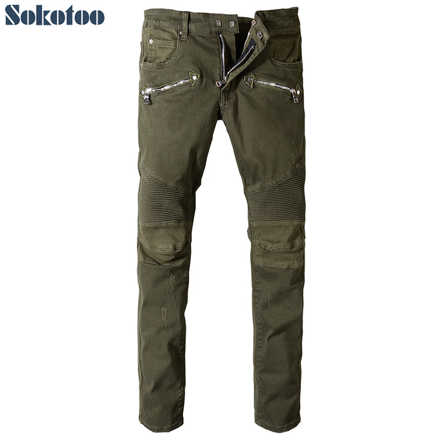 Sokotoo Men's army green pleated biker jeans for moto Plus size military patchwork stretch denim pants