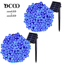 Dcoo 2 Pieces Solar LED String Lights 72ft 22m 200 LEDs 8 Modes String Lights Outdoor Garden Party Lights Waterproof Blue Solar