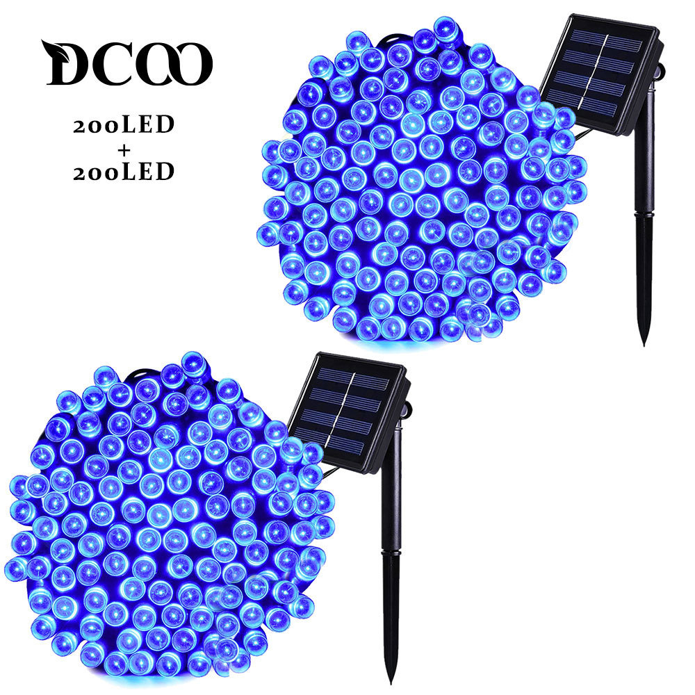 Dcoo 2 Pack Solar LED String Lights 72ft 22m 200 LEDs 8 Modes Outdoor Garden Party Waterproof Blue