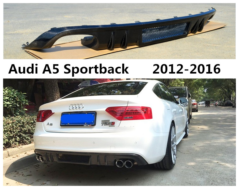 For <font><b>Audi</b></font> <font><b>A5</b></font> <font><b>Sportback</b></font> Normal Version 2012-2016 High Quality Carbon Fiber Rear Lip Spoiler Bumper <font><b>Diffuser</b></font> Auto Accessories image