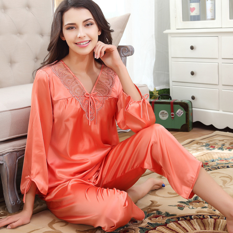 Luxury lady spring summer simulation silk nightwear sexy women long sleeved trousers lace pajamas hollow out v neck design