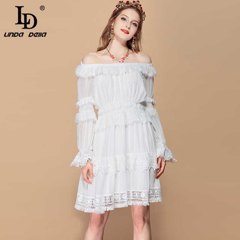 LD LINDA DELLA Мода ВПП лето для отдыха и вечеринок платье Для женщин сексуальная Slash шеи эластичный пояс Повседневное белый элегантное платье