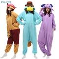2017 de alta calidad conjuntos de pijamas polar pijamas animal onesies Unicornio Dinosaurio invierno Con Capucha pijamas para las mujeres ropa de hogar
