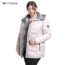 MS VASSA Women 2018 New High Quality Jackets Winter Spring Ladies Coats Fashion Big Size Parkas Turn Down Plus Size 6XL 7XL(China)