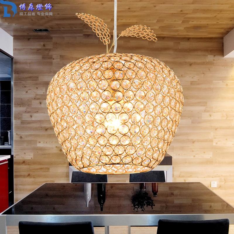 New Creative Crystal Apple Pendant Lamp Gold Lampshade Abajur Restaurant Hanglamp Light E27 Home Decor 110V 220V Modern Lighting creative restaurant pendant lamp individual crystal hanging light 110v 220v 80w fashion supend lighting