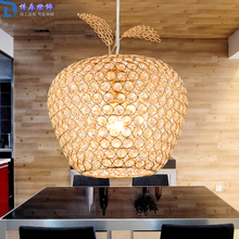 New Creative Crystal Apple Pendant Lamp Gold Lampshade Abajur Restaurant Hanglamp Light E27 Home Decor 110V 220V Modern Lighting