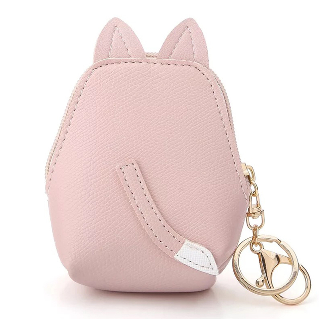 Cute Small Cat Shaped Leather Girl's Coin Purse
