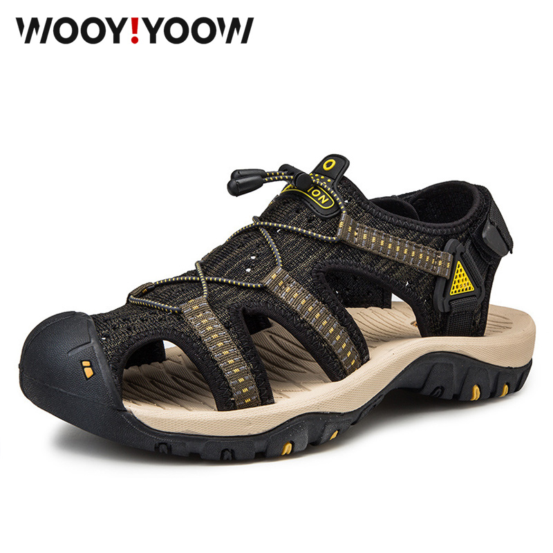 WOOY!YOOW Men's Sandals Mesh Breathable Soft Bottom Beach Shoes New Summer Casual Outdoor Sandals