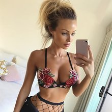 7352cab272d Hot 2018 Hot Sell Rose Embroidered Corset Sexy Bras Womens Unpadded Push Up  Lingerie Crop Top Fashion Underwear Deep V Black