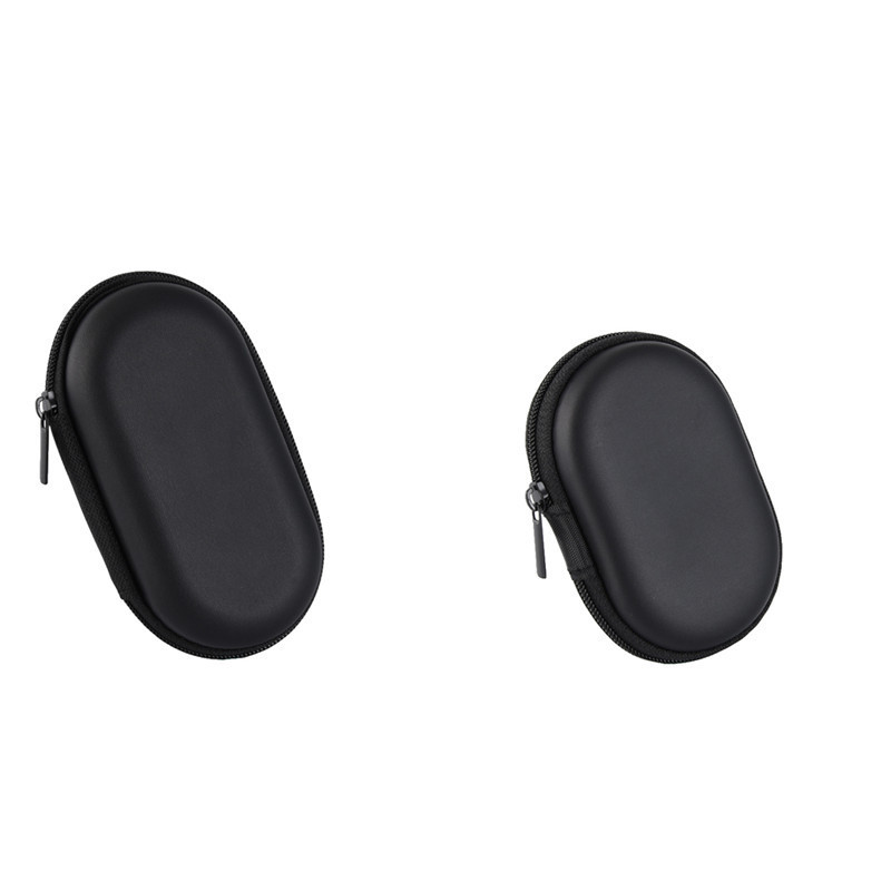 Portable Black Oval Headphone Case Pouch Bag Protective Usb Cable Organizer Box 2 Size O ...
