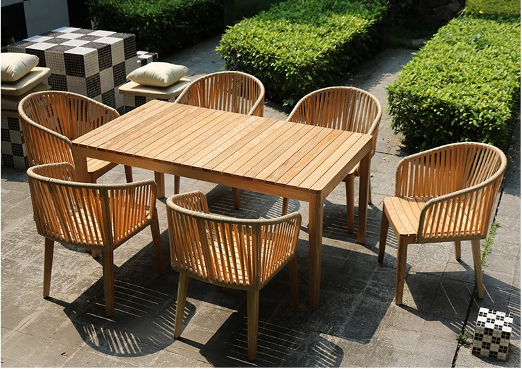 1.5m Wood Table + 6x Chairs for Gardens Backyards