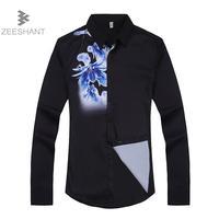 ZEESHANT עיצוב הדפסת הגברים אופנתי מקרית Slim Fit שמלת שרוול ארוך חולצה למעלה עסקי Camisa Masculina גודל אסיה M-XXL Homme
