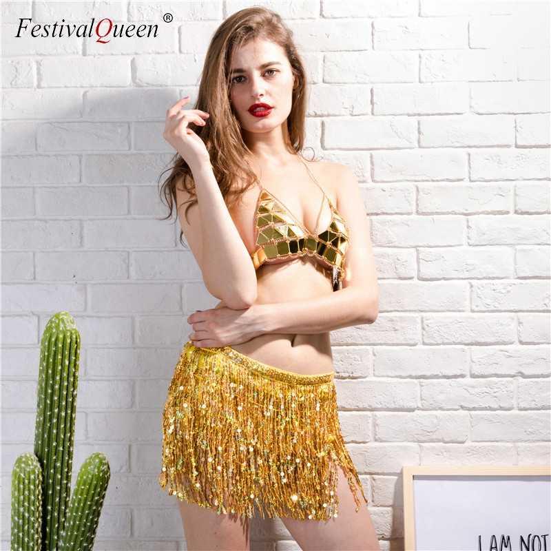 852a09c74b6 ... FestivalQueen золото 2 предмета женские комплект sexy Блестками Лифчик  укороченный топ мини-юбка костюмы Пляжная ...