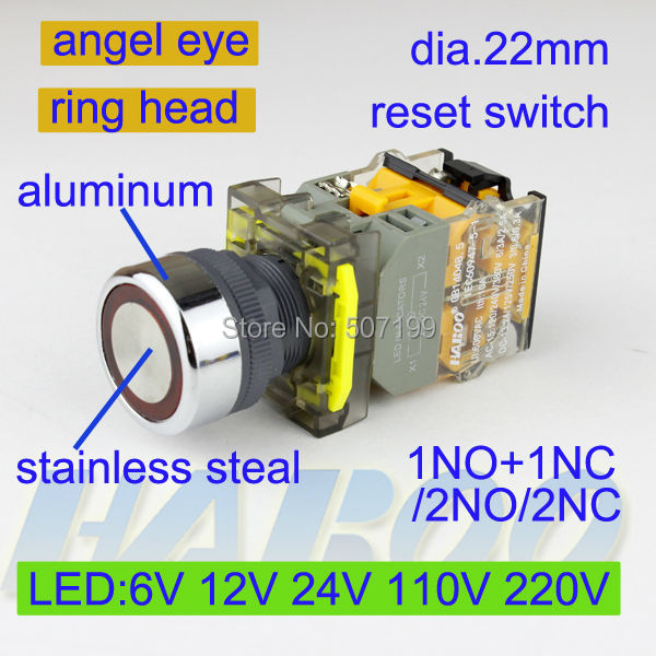 5pcs/lot HABOO dia.22mm metal ring color head led switch momentary reset 1NO+1NC illuminated led lighting switch
