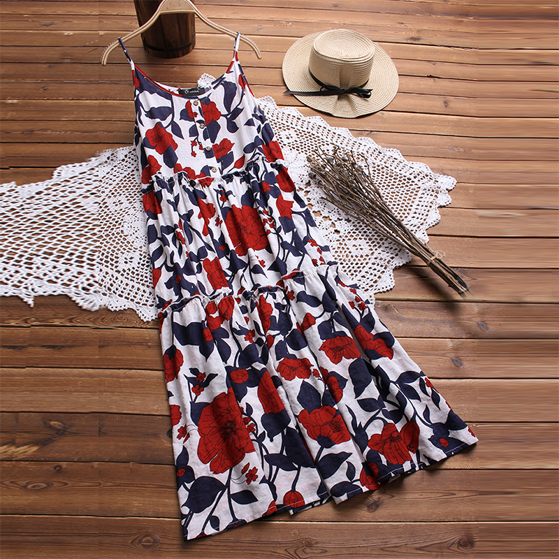 2018 Summer Women Sexy Boho Floral Printed Dress Strappy Sleeveless Buttons Dresses Cotton Linen Loose Vestido Beach Party Robe