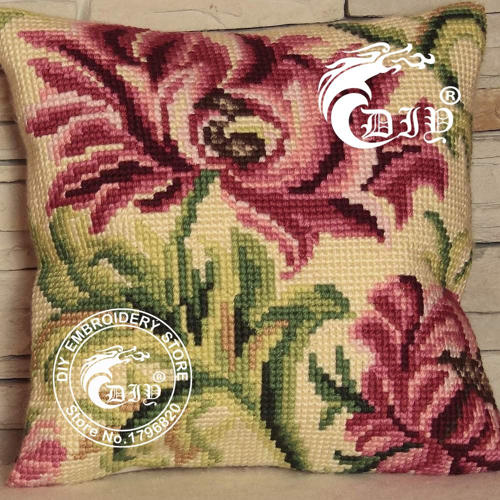 cross stitch cushion kits diy chunky pillowcase 3d yarn embroidery coussin wild rose left. Black Bedroom Furniture Sets. Home Design Ideas