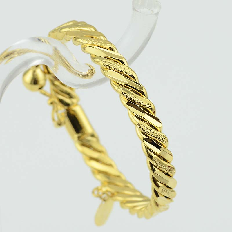 free charm yellow filled bracelet small baby bangles item bangle gf bell jewelry infant gold jewellery shipping