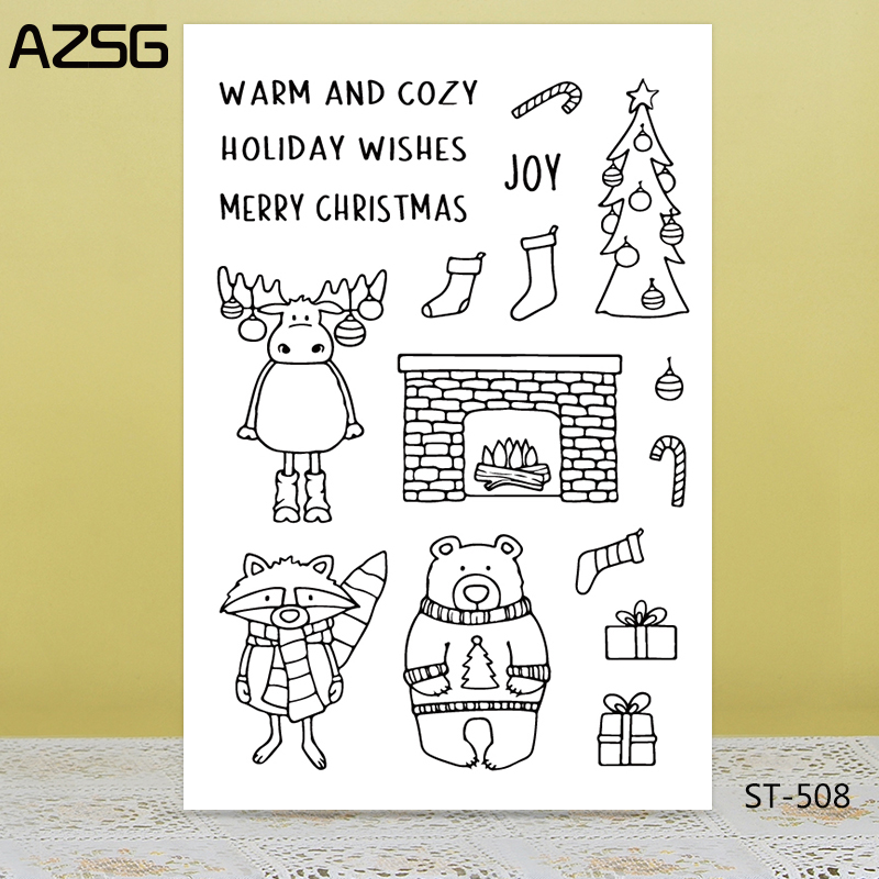 AZSG Christmas Tree Reindeer Bear Clear Stamps/Seals For DIY Scrapbooking/Card Making/Album Decorative Silicone Stamp Crafts