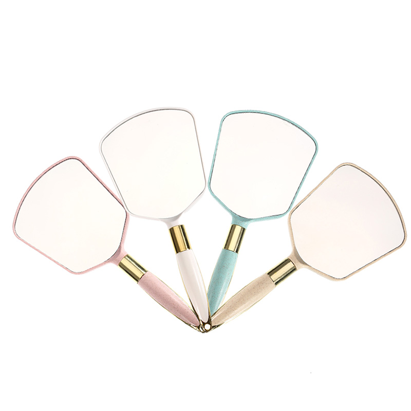 1Pc Pink White Plastic Hand Mirrors Makeup Vanity Mirror Rectangle Hand Hold Cosmetic Beauty Mirror With Handle Gifts