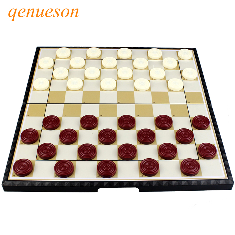 High Quality International Checkers Portable Plastic Chess Set Folding Checkers Magnetic Chess Board Game Children Gift Qenueson
