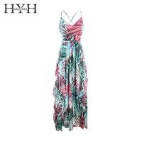 HYH Haoyihui Brand Floral Printed Bohemian Style Maxi Dress Sleeveless Cold Shoulder Spaghetti Strap Female Elegant