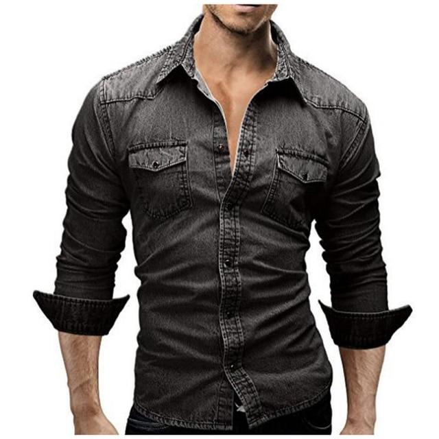 Джинсовая рубашка Для мужчин 2018 мужской джинсовая рубашка Ретро Для мужчин рубашка с длинным рукавом бренд Повседневное Camisa Hombre M-XXXL
