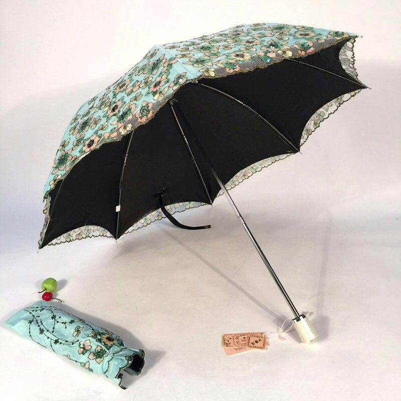Élégant broderie dentelle parapluie vert fleur femmes filles Parasol Anti Uv Parasol mariage rose parapluie Sombrinha 50ys075