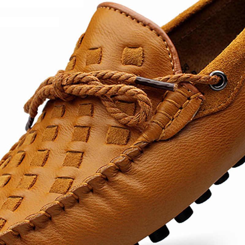 VKERGB Cravate schoenen zacht lederen Erwt flats hombre Zwarte Mens Britse Stijl Flats schoenen Mens Soft Leather Loafers Schoenen