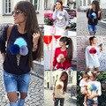 2016 Novo Design de Outono Camisola Das Mulheres Colorido BONITO sorvete de Pelúcia Capuz manga Comprida O Pescoço Causal Tops Hoodies Das Senhoras