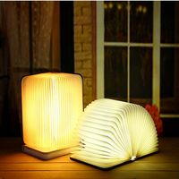 Portable USB Rechargeable LED Creative Foldable Wood Grain Book Lamp Night Light Desk Lamp Hot Sale for Home Decoration DropShip