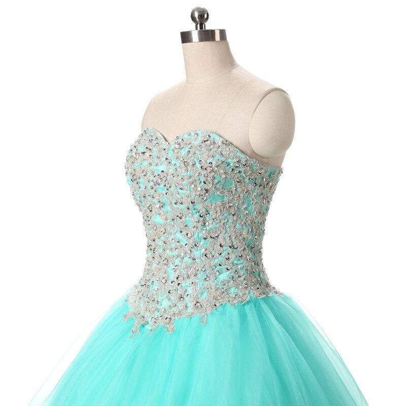 2017 echte foto tulle baljurk quinceanera jurk met applique en kralen - Jurken voor bijzondere gelegenheden - Foto 3