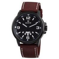 Для мужчин часы кварцевые классический коричневый, черный круглый Водонепроницаемый модные Повседневное кожаный ремешок сплава мужской Н...