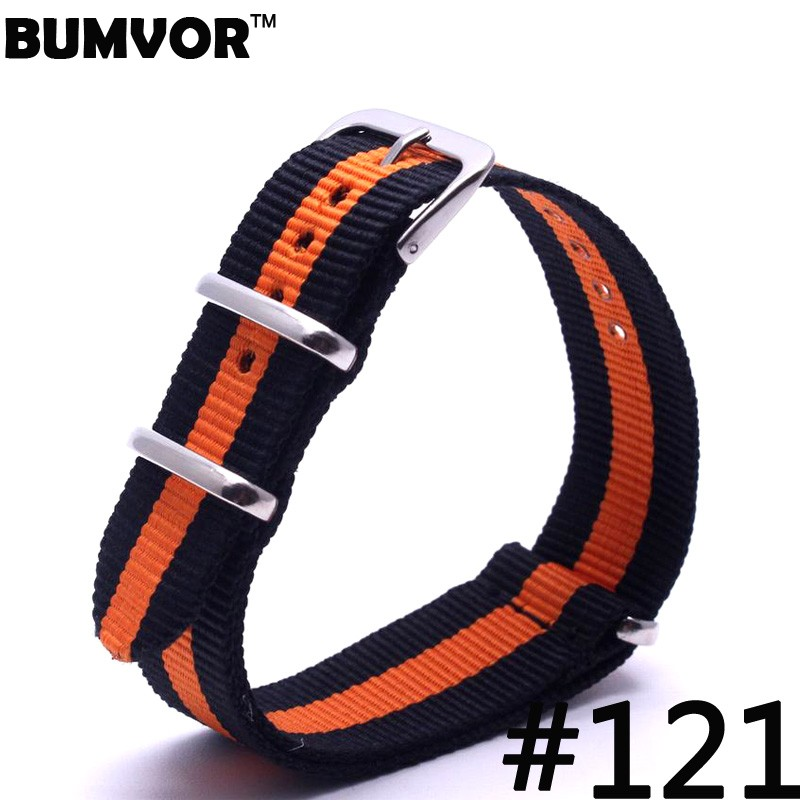 Stripe Cambo Orange&Dark Blue Watch 20 mm Army Military nato fabric Nylon watchbands Strap Bands Buckle belt