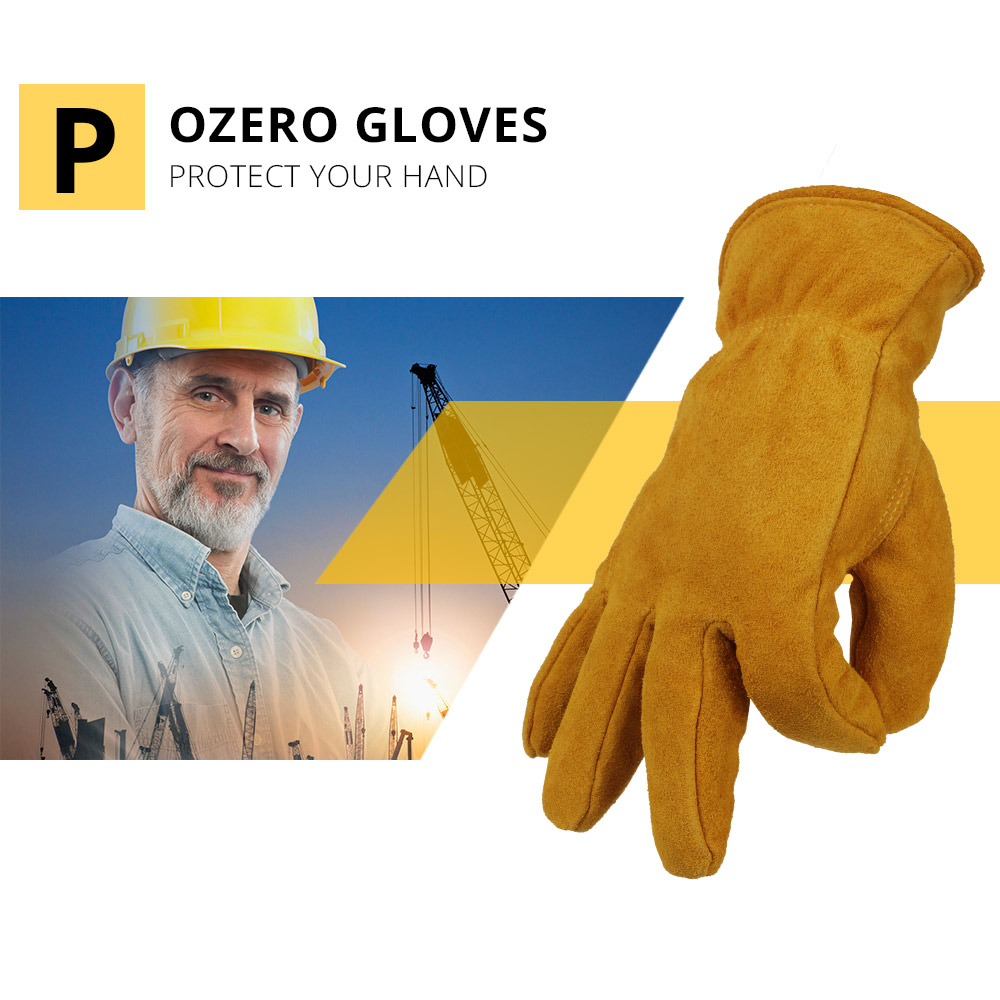 Image 3 - OZERO Men's Work Driver Gloves Cowhide Winter Warm Cashmere Windproof Security Protection Wear Safety Working Woman Gloves 2008-in Safety Gloves from Security & Protection