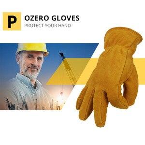 Image 3 - Мужские рабочие перчатки OZERO, теплые зимние кашемировые перчатки из воловьей кожи, с защитой от ветра, 2008