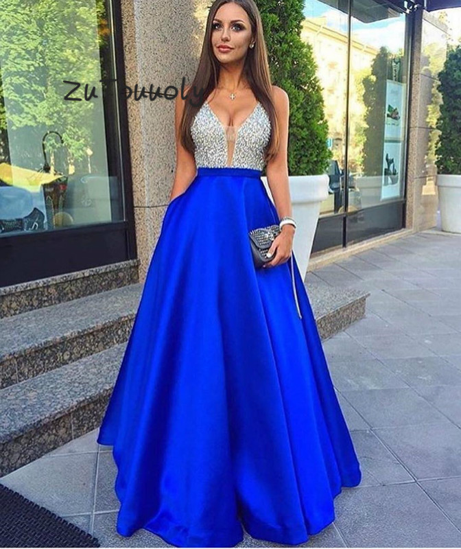 Fitted Blue Prom Dress With Pockets Elegant V Neck Floor Length Top Beaded Evening Dress Plus Size 2019 Special Occasion Dress