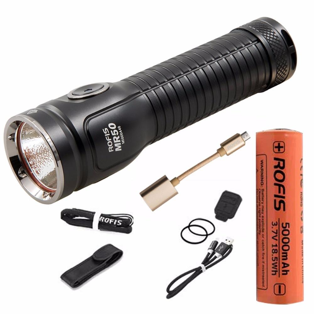 Rofis MR50 USB rechargeable lampe de Poche CREE XHP50.2 CW LED max 2500 lumen tactique torche avec 21700 5000 mah li-ion batterie