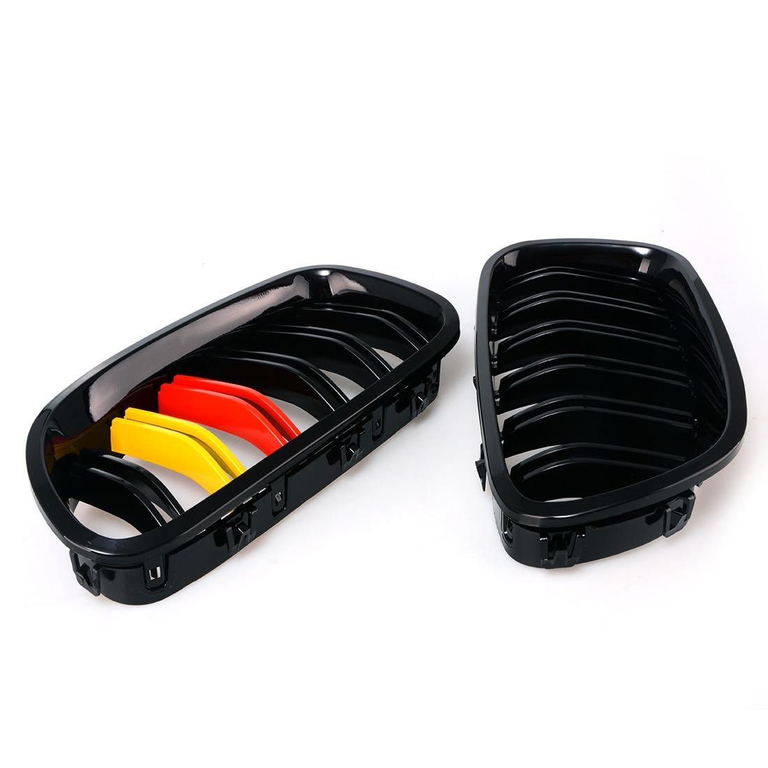 Grille de calandre noire brillante 3 couleurs en Fiber de carbone 2 lignes M5 pour BMW 2011-2015 F10 520i 535i 550i