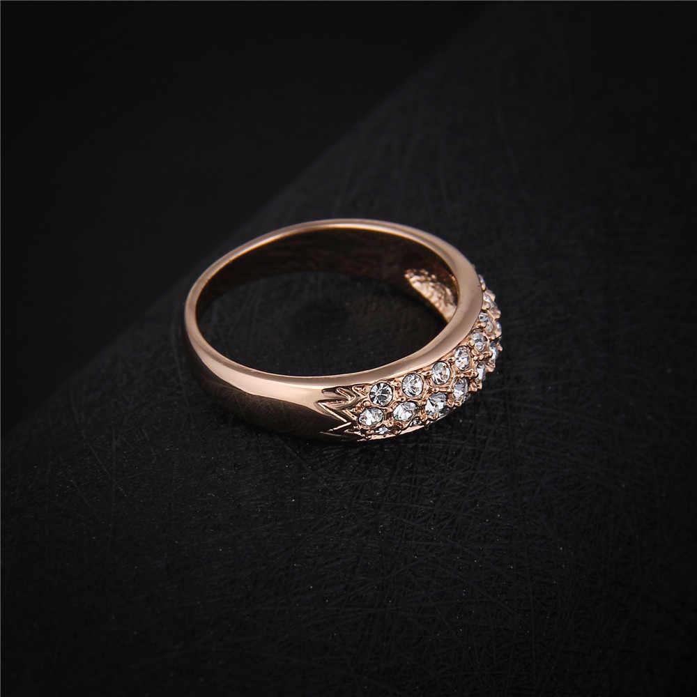 Klasyczny urok róża złote kryształy górskie Studded pierścienie proste ślubne pierścionki dla kobiet zaręczyny bague18KR007