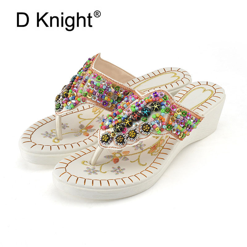 Women 2018 New Summer Bohemia Slippers Fashion Causal Slide Flip Flop with String Bead Lady Girl Platform Shoes for Beach Slides