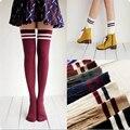 9 colores de Moda Diseñador de la Marca Mujeres de Algodón A Rayas Sobre La Rodilla Calcetines de Caña Alta Grueso Lovely Girls Princesa Linda Medias Largas