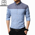 2016 New Arrival Men Shirts High Quality Cotton Fashion Stitching Color Male Long Sleeve Slim Fit Casual Shirt Big Size 4XL M013