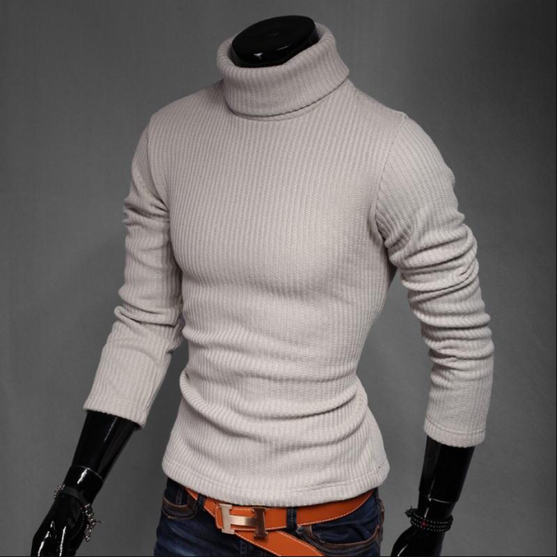 Sweater Men Knitwear Turtleneck Slim-Fit Warm Thick Male High-Neck Winter Brand M-XXXL