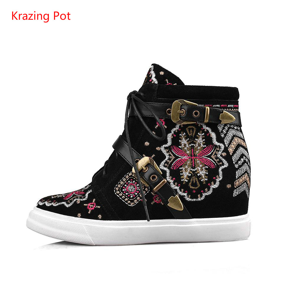 ФОТО New Genuine Leather Folk Embroidery Bowtie Lace Up Beading Round Toe Extreme High Heel Increased Women Ankel Boots High Quality
