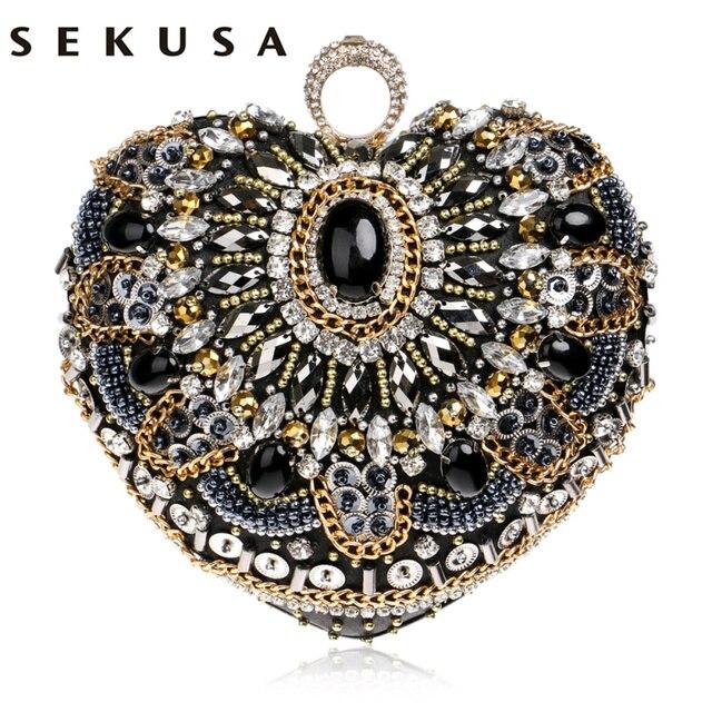 SEKUSA Heart Women Bag Finger Ring Diamonds Purse Clutch Chain Shoulder Emroidery Messenger Bag Beaded Rhinestones Weeding Bag