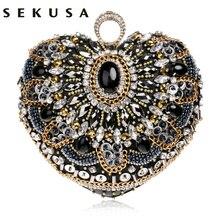 Sekusa coração bolsa feminina anel de dedo diamantes bolsa de embreagem bolsa ombro emroidery bolsa mensageiro frisado strass saco de ervas daninhas