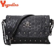 Yogodlns HOT!female summer wild Messenger small bag rivet skull shoulder bag Women Pu Leather Handbag Purse Designer Hand Bags(China)