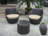 3 Pcs Dark Brown Resin Wicker Obelisk Chair Rattan Bullet Sofa Set Transport By Sea